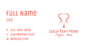 Outline Elephant Heart  Business Card