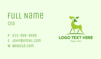 Deer Eco Leaf Sustainability  Business Card