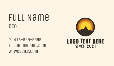 Rustic Mountain Sunset Badge Business Card