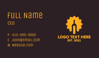 Cogwheel Liquor Bottle  Business Card