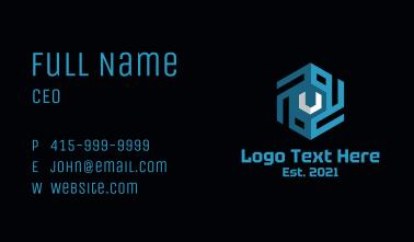 Blue Cube Letter V Business Card