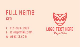 Orange Owl Line Art Business Card