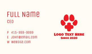 Pet Paw Veterinary Clinic Business Card