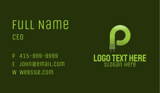 Letter P Electrical Bulb Business Card
