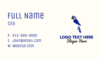 Blue Macaw Mascot Business Card