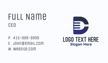 Blue Fork Letter D Business Card