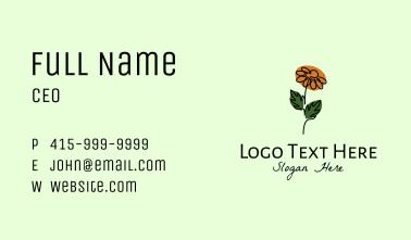 Daisy Flower Monoline  Business Card