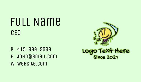 smiley - Graffiti Doodle Figure Blade  Business card horizontal design