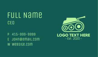 Green Military Tank Business Card