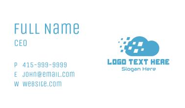 Blue Pixel Drift Cloud Business Card