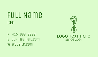 Monoline Lotus Lute  Business Card