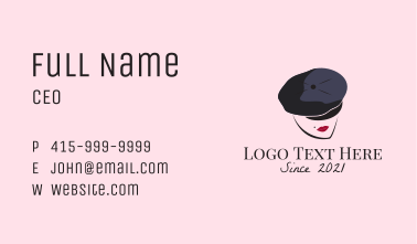 French Woman Beret  Business Card