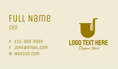 Simple Brass Saxophone   Business Card