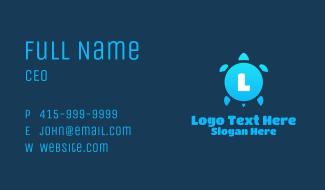 Blue Turtle Letter Business Card
