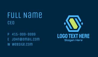 Abstract Tech Hexagon Business Card