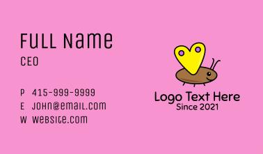 Heart Butterfly Cartoon Business Card