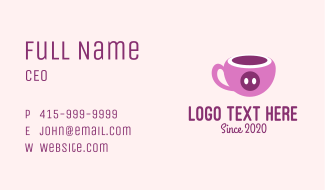 Pink Pig Cup Business Card