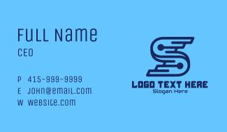 Blue Tech Letter S Business Card