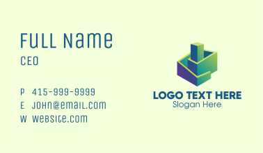3D Gradient Abstract Building Business Card