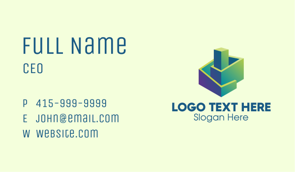 geometrical - 3D Gradient Abstract Building Business card horizontal design