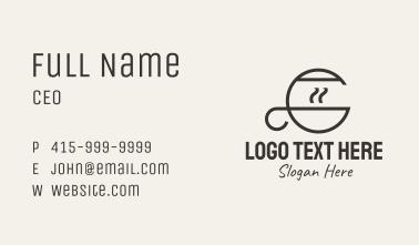Coffee Monoline Letter C Business Card