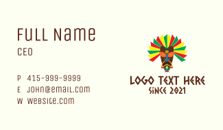 Colorful Tribal Mask  Business Card