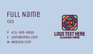 Multicolor Square Mosaic Business Card