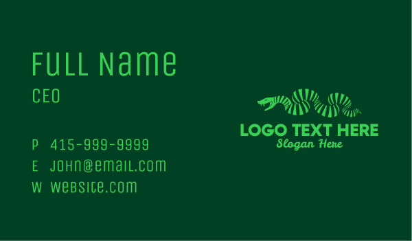 viper - Green Stripe Snake  Business card horizontal design