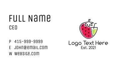 Strawberry Fruit Juice Drink Business Card
