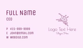 Women Gymnast Line Art Business Card