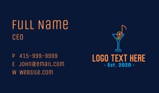 Music Cocktail Bar Business Card
