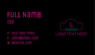 Neon Club Letter Business Card