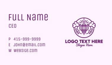 Purple Asian Lantern Clouds Business Card