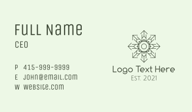Green Snowflake Pattern  Business Card