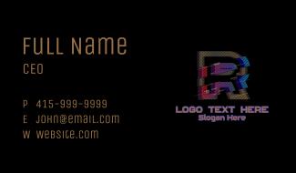 Gradient Glitch Letter R Business Card