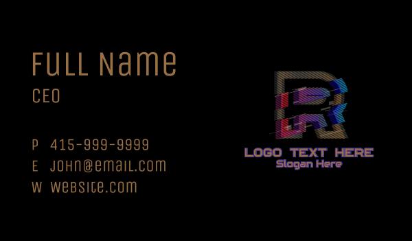 glitchy - Gradient Glitch Letter R Business card horizontal design