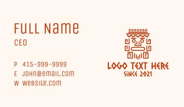 Aztec Head Statue Business Card