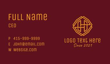 Gold Monoline Letter H Business Card