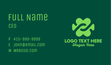 Green Abstract Cloverleaf Business Card