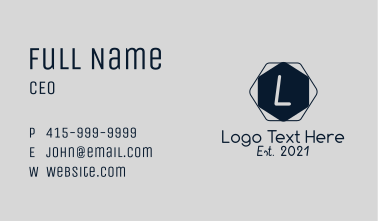 Simple Hexagon Letter Business Card