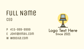 Bedroom Lamp Appliance Business Card