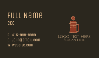 French Press Road Sign Business Card