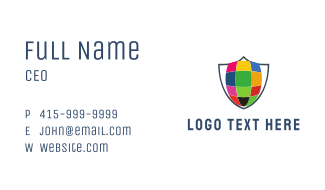 Colorful Shield Business Card