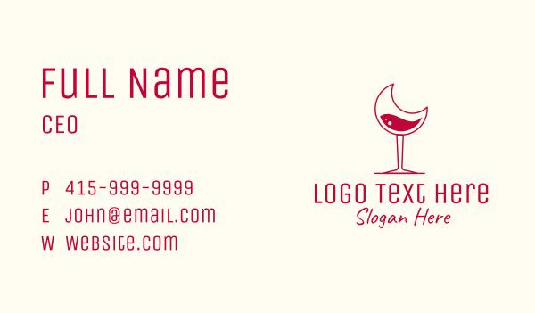 wine shop - Moon Wine Glasss Business card horizontal design