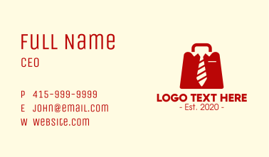 Red Employee Briefcase Business Card