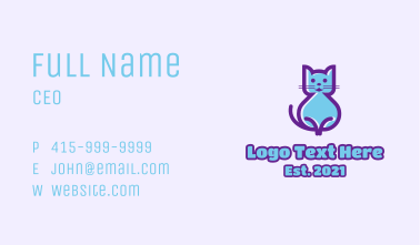 Blue Cute Cat  Business Card