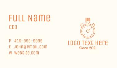 Fork Stopwatch Line Art  Business Card