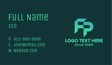 Letter F & P Monogram Business Card