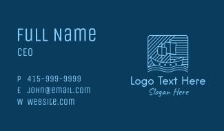 Blue Boat Line Art Business Card