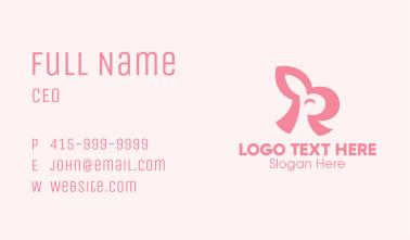 Pink Rabbit Letter R Business Card
